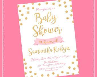 Invitación de la ducha de bebé de color rosa y oro. Rosa