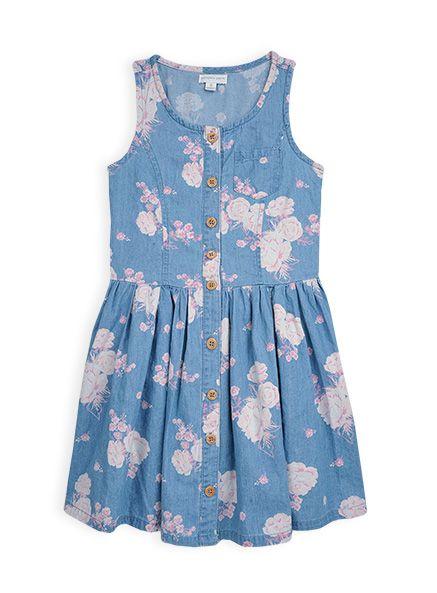 Pumpkin Patch - dresses - floral denim skater dress - W4GL80004 - denim - 6 to 12
