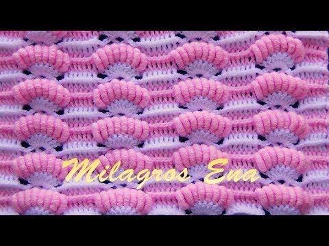 Punto a crochet Abanicos de Rococo combinado con punto Relieves para cobijas de bebe - YouTube