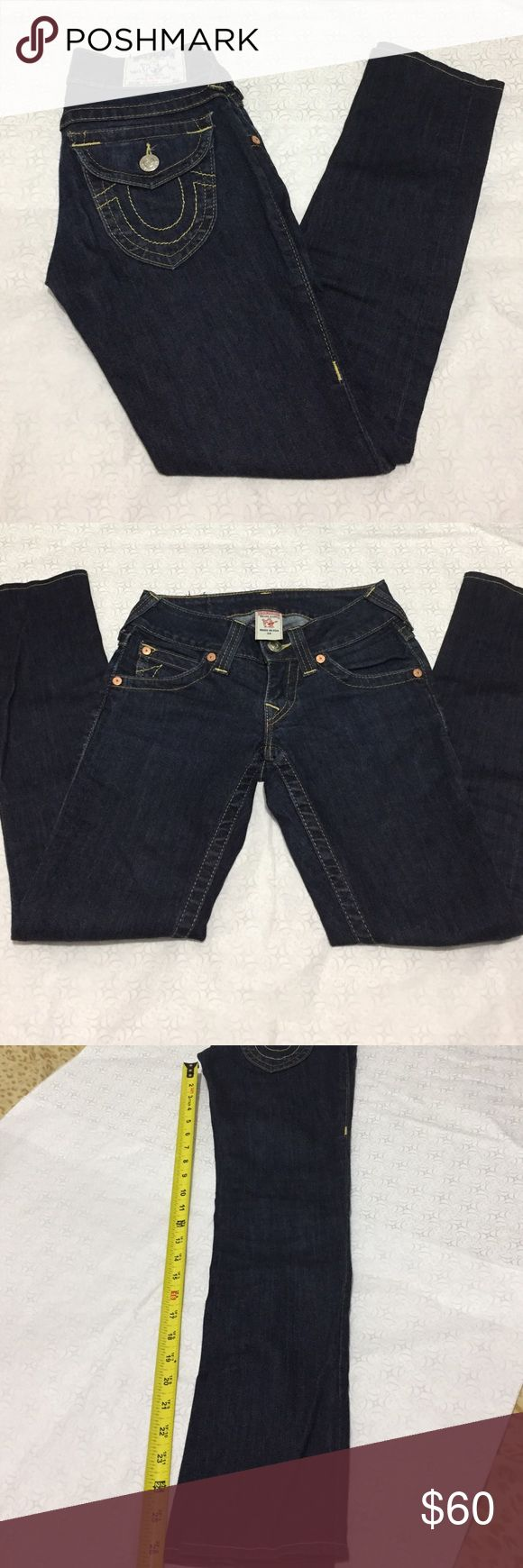 True Religion•Women's Dark Wash Jeans•Size 24 Worn and washed a handful of times. Well cared for and in like new condition. No longer fits me. Inseam length is about 26.5-27 inches (refer to photo). Feel free to ask any questions. Offers welcome. 😊 True Religion Jeans Skinny