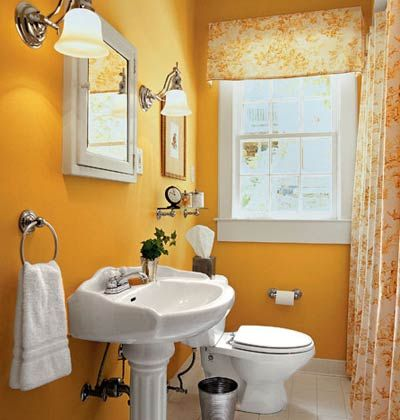 Maybe one day our 1/2 bath will look similar to this.  I love the decor and the curtain