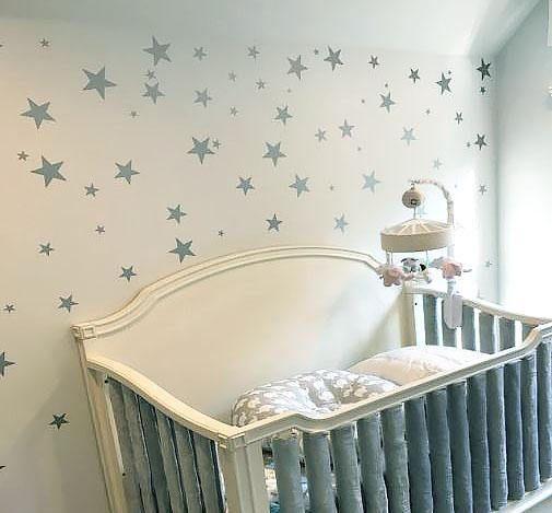 Plata confeti estrellas palo en pared arte plata vinilo pared
