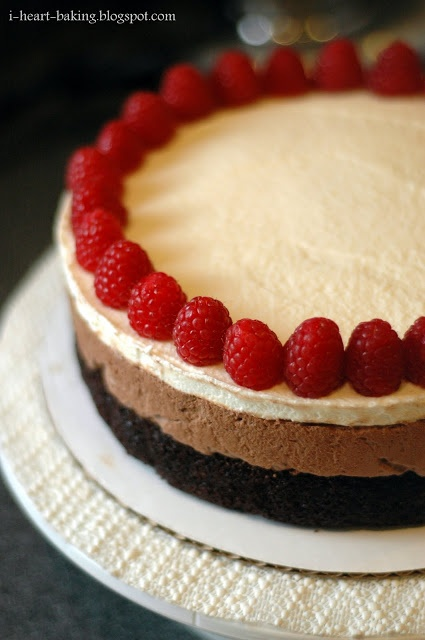 i heart baking!: triple chocolate mousse cake with raspberries