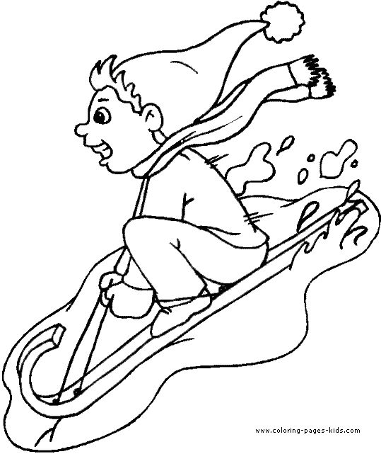 child on a sled Winter color page, holiday coloring pages, color plate, coloring sheet,printable color picture