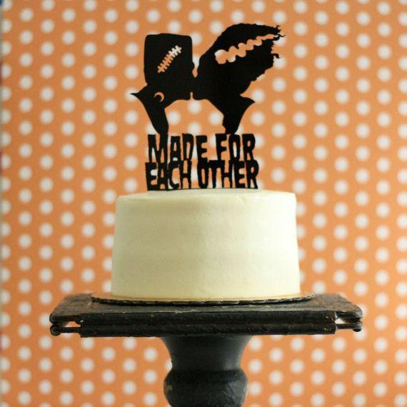 Frankenstein & Bride Silhouette Wedding Cake Topper for Halloween Wedding or Classic Movie Buffs
