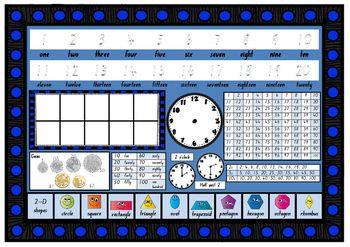 Year 1 Numeracy Desk Mats - print and laminate