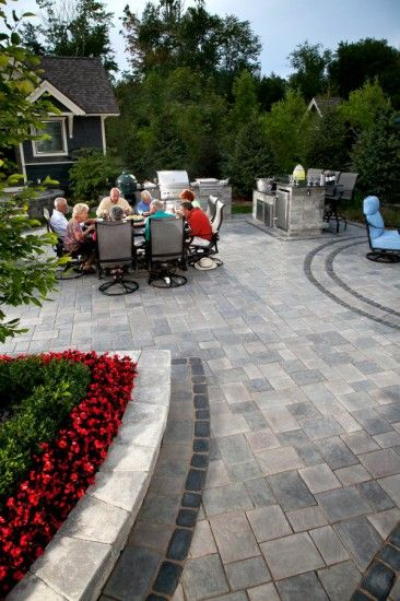 Paver patio by Unilock with Richcliff and Courtstone