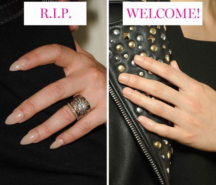 3. La forma delle unghie  A parte lo smalto nude o colorato, le unghie a forma di mandorla meritano di rimanere relegate al 2014. Nel 2015 definisci le tue unghie in una forma che segua le cuticole per una manicure molto naturale.