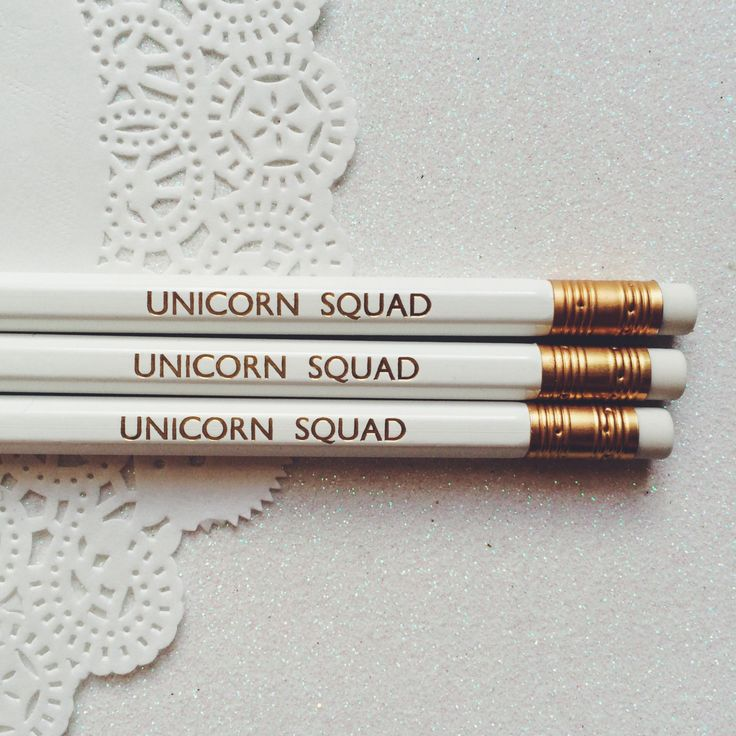 Unicorn Squad - for the unicorns in your girl squad! Perfect for any girl gang, party favours and to add the unicorn in you to your stationary collection. Hand stamped with gold foil on white HB pencil. Sharpened ready to use and with matching white rubber. Listing is for single pencil, comes lovingly packaged with care and sent from Elf Creative located in the heart of Bristol.