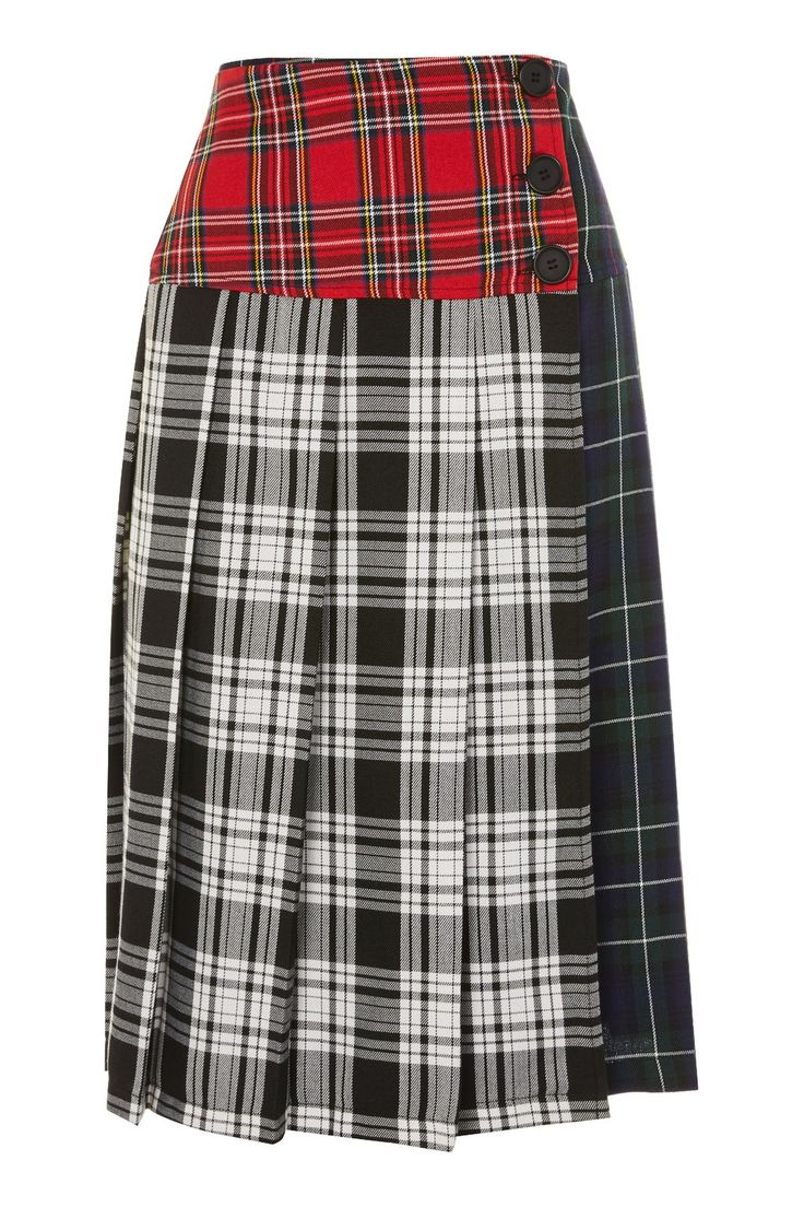 Colourblock Check Kilt Skirt - New In Fashion - New In - Topshop Europe