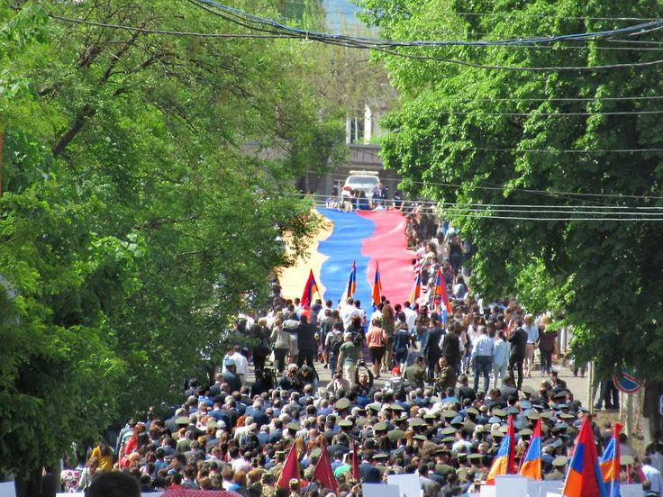 This procession in Stepanakert, Republic of Nagorno Karabakh, on May 9, 2017, was to commemorate the 25th anniversary of the liberation of Shushi and the 72nd anniversary of the end of World War Two.