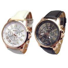 Women Geneva Roman Numerals Faux Leather Analog Quartz Watch (Black+White)