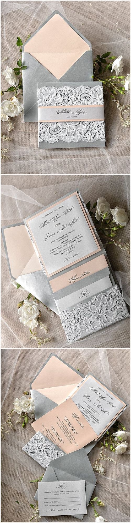 You can easily add one more layer to this set and have two languages, but how much more will it cost you? Discover all about bilingual wedding invitations on the blog! Peach and grey rustic vintage lace wedding invitations.