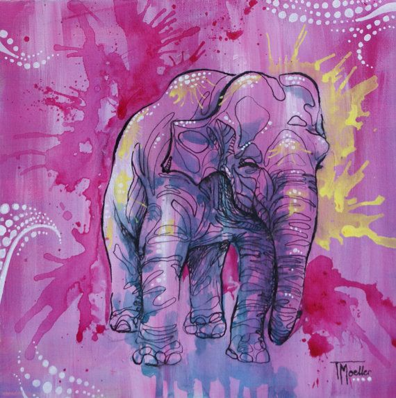 Original Pink Elephant Acrylic and Ink Painting by Tiffany Moeller