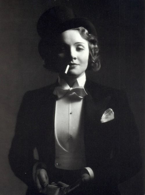 """I am, at heart, a gentleman.""  -Marlene Dietrich (photo by E.R. Richee)"