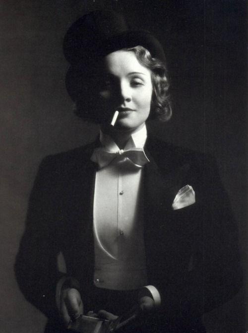 """I am, at heart, a gentleman.""  -Marlene Dietrich (photo by E.R. Richee)"