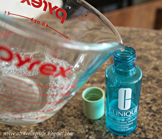 DIY Makeup Remover: 2 ounces water + 5 drops baby oil + 1/4 teaspoon tear free baby shampoo