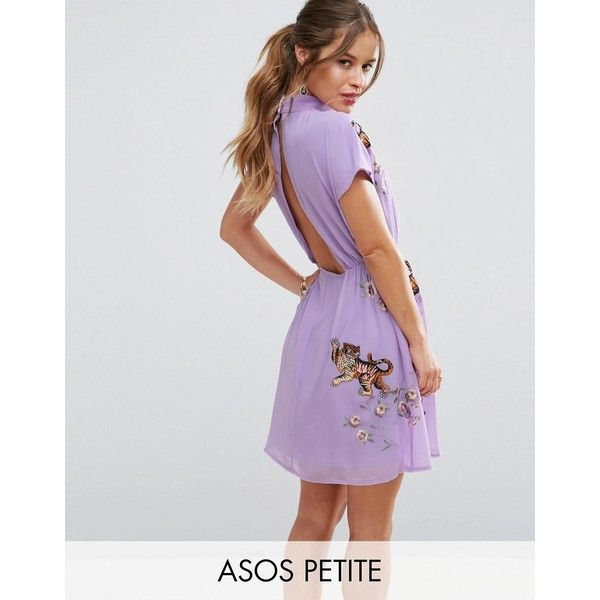 ASOS PETITE PREMIUM Open Back Tea Dress with Tiger Embroidery ($96) ❤ liked on Polyvore featuring dresses, petite, purple, asos, embroidery dresses, tea party dresses, petite dresses and purple dress