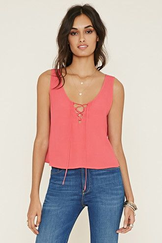 Lace-Up Crepe Tank
