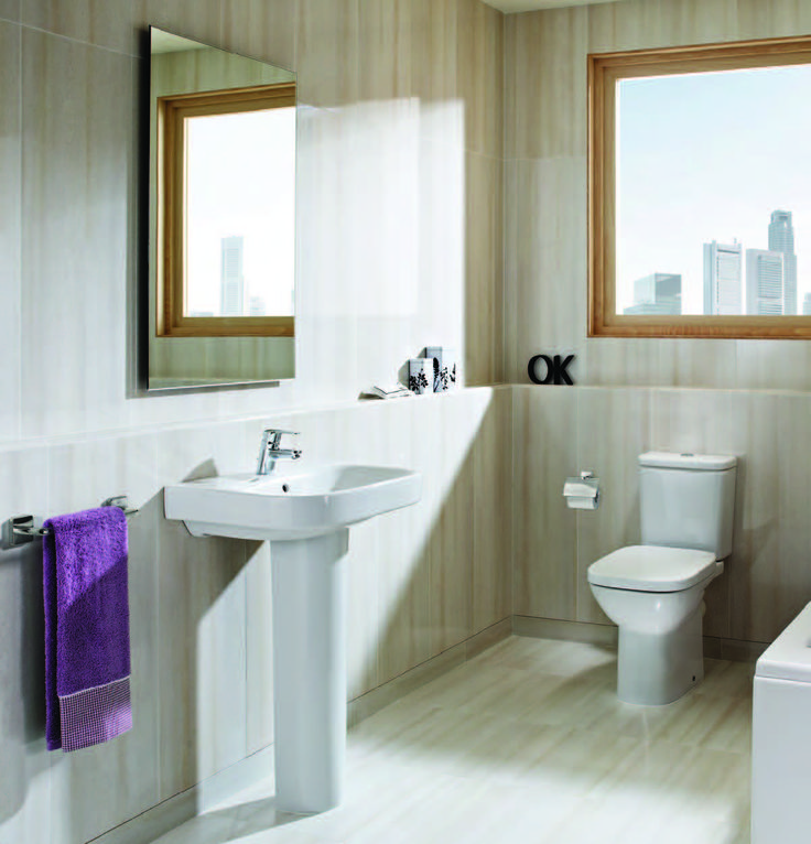 modern bathroom fountain valley reviews%0A Roca Debba   piece pack with toilet seat White