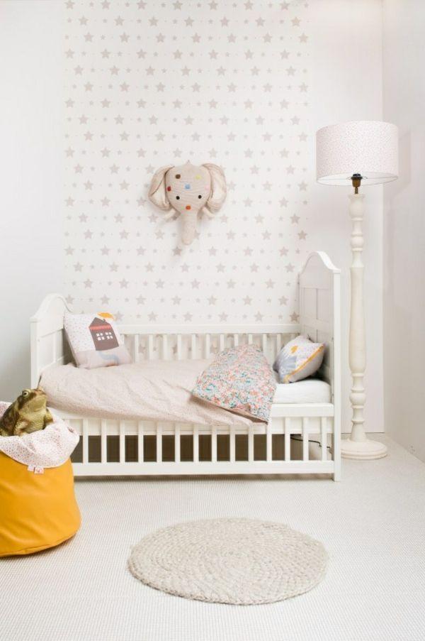 Amazing  Ideen f r Kinderzimmergestaltung kinderzimmer strerne wanddeko gestalten ideen deko wei puristisch Pinterest Babies and Interiors