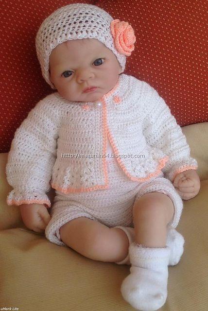 White baby bolero by Maru Minetto: Babies, Craft, Free Pattern, Crochet Baby, Baby Crochet, Boleros, Crochet Patterns