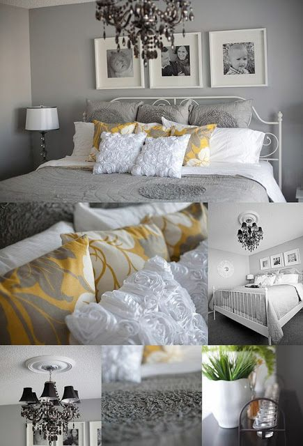 Yellow and Grey Bedroom: white frames with black and white portraits above bed