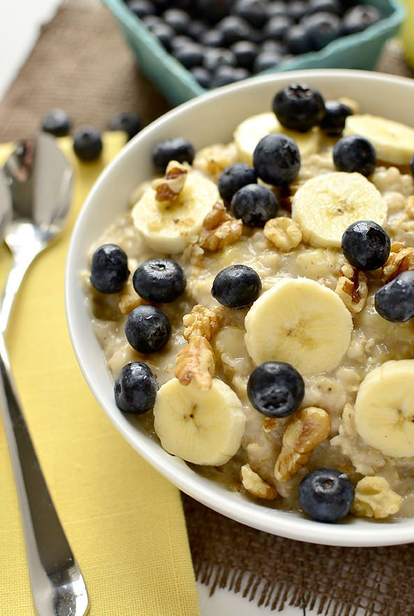 Blueberry Banana Nut Oatmeal https://iowagirleats.com  #soup #recipe #lunch #easy #recipes