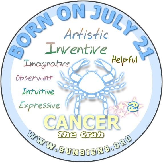 IF YOUR BIRTHDAY IS  JULY 21, then you are hypersensitive, observant and expressive.
