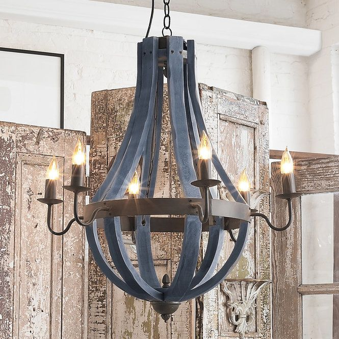 Wooden Wine Barrel Stave Chandelier navy