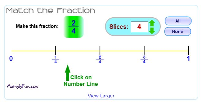 """In """"Match the Fraction"""" by MathIsFun.com, students match the fraction to its place on the number line."""