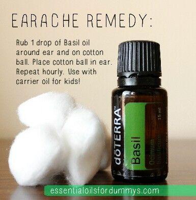 Remedie tegen oorpijn. Vermeng de basilicum olie met een neutrale olie als je dit bij kinderrn toepast. Bijv. baby-, tarwe-, olijf- of amandelolie.