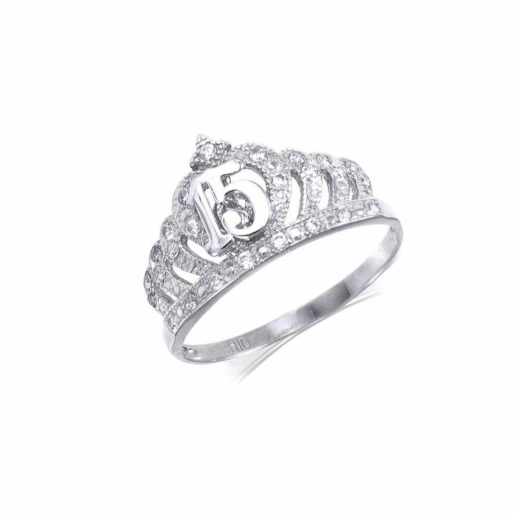 10k Solid White Gold Cubic Zirconia Sweet 15 Crown Ring