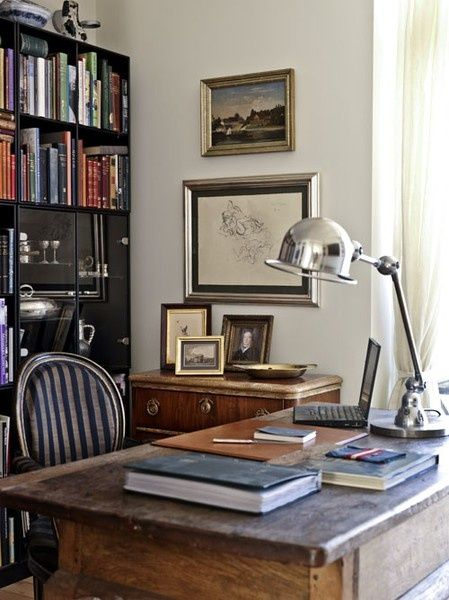 I like this desk lamp----A Delightful Design: designing a masculine home office + one more