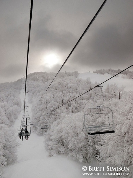 Worth Mountain Ski Lift in a Snowstorm, Middlebury College Snow Bowl, Green Mountains, Vermont