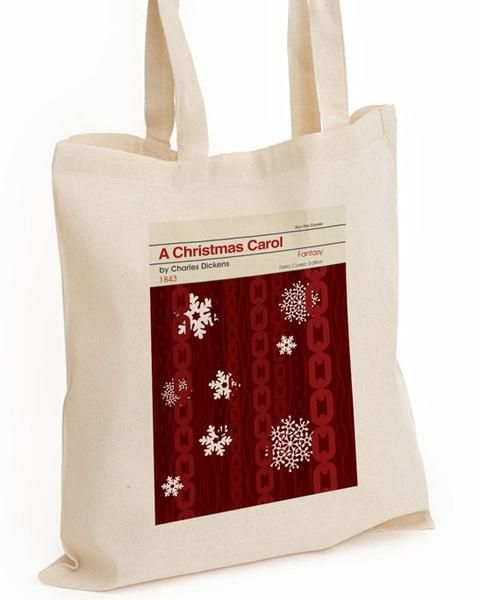 Stylish long handled 100% cotton shopper bag witha retro A Christmas Carol cover. Capacity:10 Litres.Size:42 x 38cmImage size approx:20 x 28cm