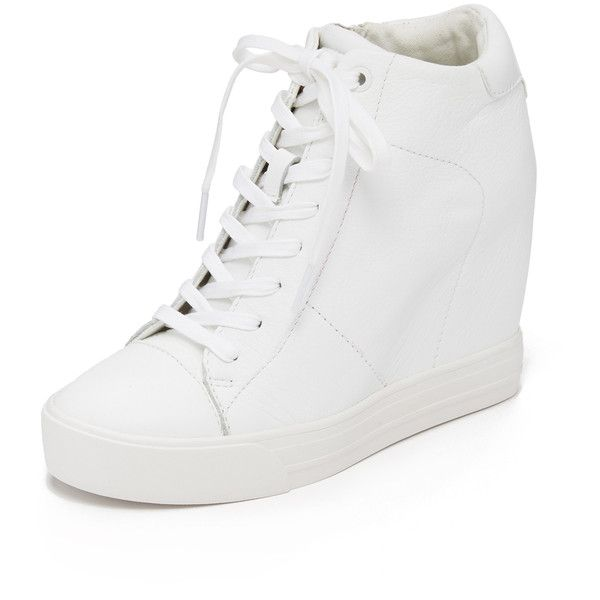 DKNY Ginnie Wedge Sneakers (15.410 RUB) ❤ liked on Polyvore featuring shoes, sneakers, white, white shoes, lace up sneakers, white trainers, leather shoes and dkny sneakers