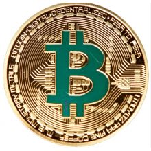 Двухцветная монета Биткоин: Позолота + зелёный  #bitcoin