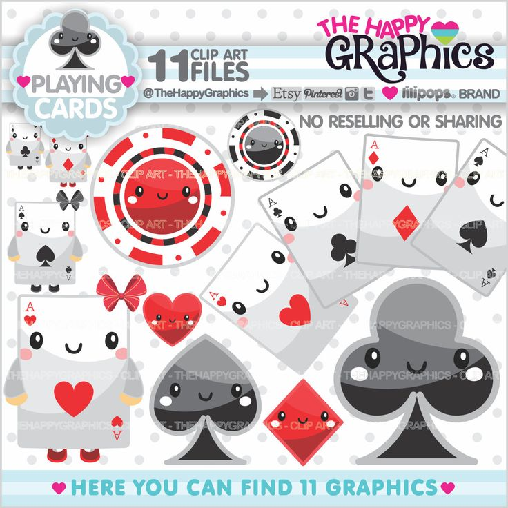 Playing Card Clipart, 80%OFF, Playing Card Graphics, COMMERCIAL USE, Planner Accessories, Playing Cards Party, Poker Clipart, Cute