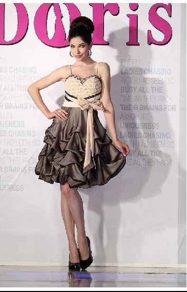 Spaghetti Strapless Ruffles With Bow Short Cocktail Dress