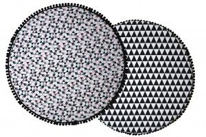 Round play mat with triangles. Black and pink decor for a girl.