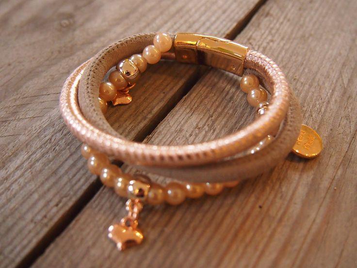 #armband #zomer #sieraden #workshop #leer #roze #parels