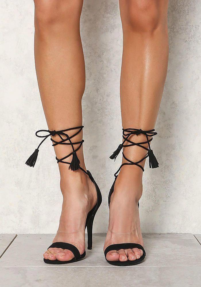Black Suedette Lace Up Tassel Strap Heels #BrianAtwoodHeels