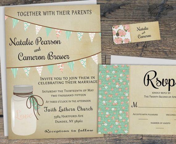 Rustic Wedding Invitation, Mason Jar Wedding Invitation, Summer Barn Wedding Invite w/ Teal and Pink Bunting Flags, Country Wedding by X3designs