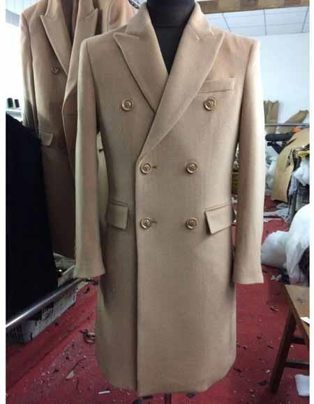 f8852a2c1c9e Men's Peak Lapel Double Breasted 6 Buttons Wool Long Beige Overcoat.