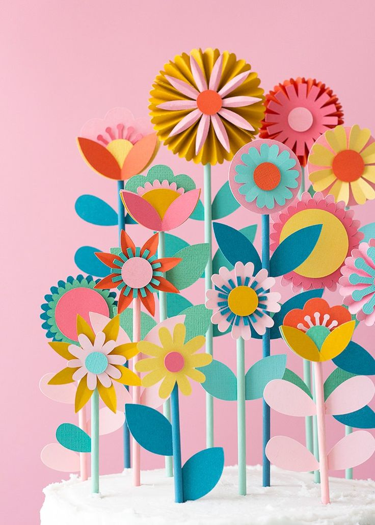 DIY flower cake toppers for Mother's Day