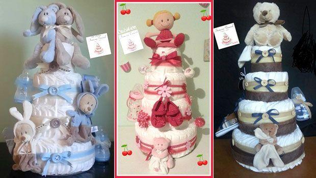 """J'ai réalisé mon 1er """"diaper cake"""" en 2000, l'année de naissance de ma fille. J'avais lu dans un magazine pour bébé que les diaper Cakes..."""