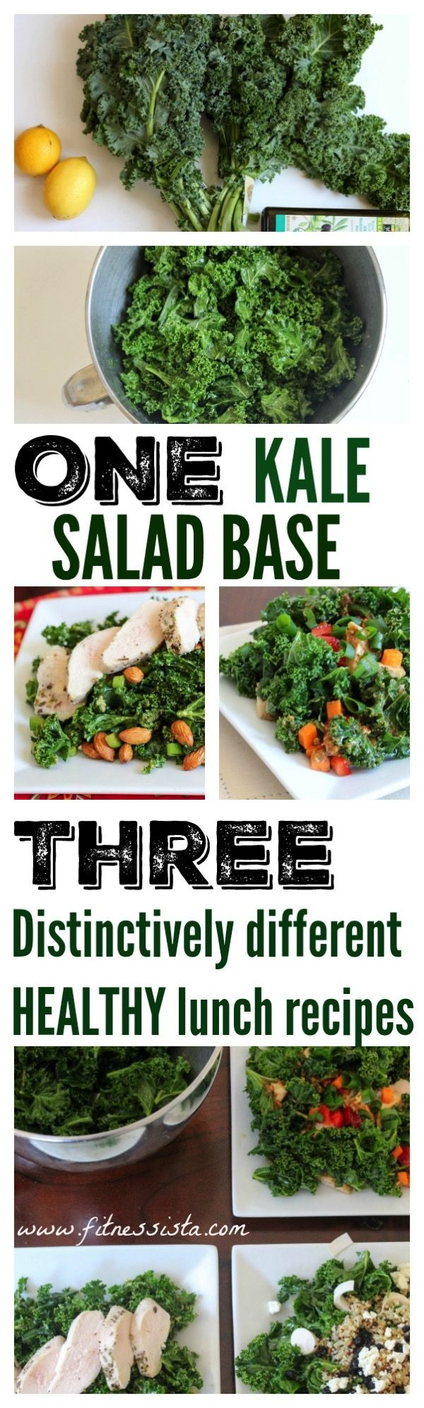 One kale salad base, three different salads. Instead of eating the day thing every day with meal prep, change it up! fitnessista.com
