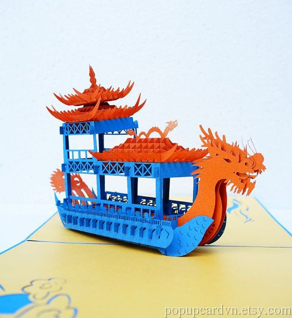 3D Dragon Boat Pop Up Greeting Cards via Popup Cardvn #etsy #kids #Chinese #dragon #pagoda #boat #popup #paper #lasercut #cards #stationery #birthday_card