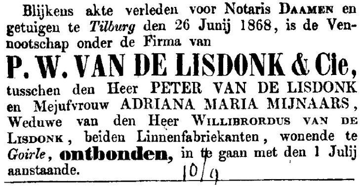 21 jaar na de oprichting van de fabriek hield Peter van de Lisdonk het voor gezien. Waarschijnlijk was een familievete met zijn schoonzus, Adriana Maria Meijnaars, de oorzaak. maar op 26-5-1868 werd hun compagnonschap definitief ontbonden. .